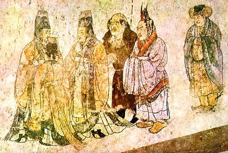 Afrasiab mural paintings western wall Korean delegation
